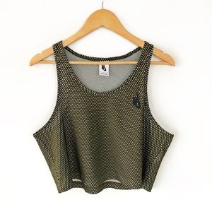 Nike Mesh Crop Tank Top Green Pinny Workout